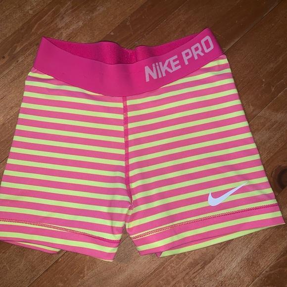 Nike Pants - Nike Pros w Pink and Neon Yellow Stripes! Size xs!